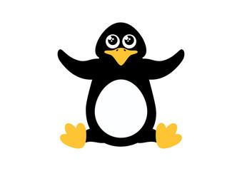 Cute penguin vector icon. Penguin isolated on a white background. Little penguin cartoon character. Sitting penguin clip art