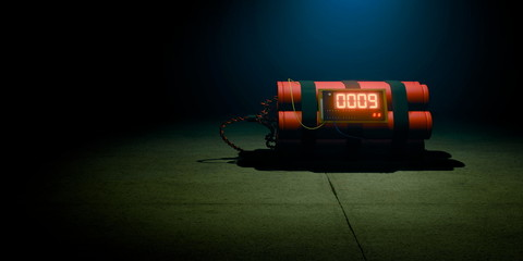 Image of a time bomb on dark background. Timer counting. 3d render