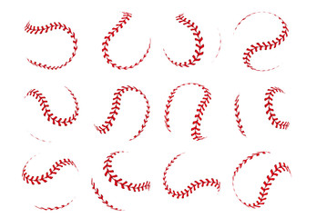 Baseball ball lace. Spherical softball realistic 3D red stroke lines for sport logos and banners. Vector isolated design elements retro sports leather objects with red seam