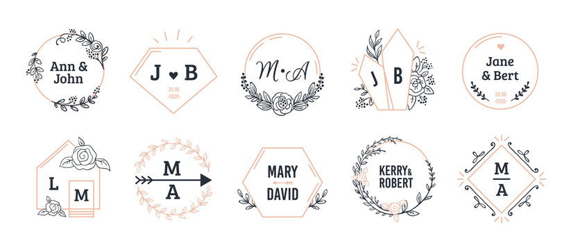 Wedding monograms. Bohemian hand drawn floral and polygonal elements for invitation and greeting cards. Vector illustration boutique simple minimalist wreath set
