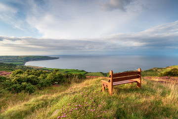 A wooden bench facing out to sea above Ravenscar on the Yorkshire coast