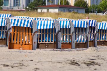 Beach chairs on the beach on the Baltic Sea coast