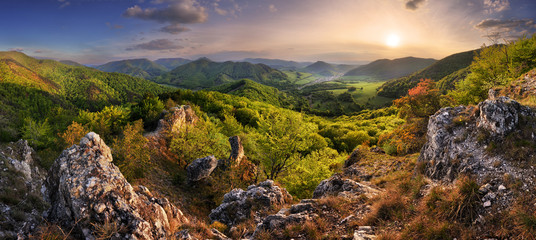 Wall Mural - Mountain landscape panorama at spring at sunset