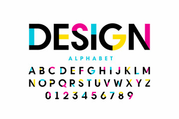 Modern bright colorful font design, alphabet letters and numbers