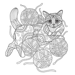 Hand drawn sketch illustration of cat and yarn for adult coloring book.