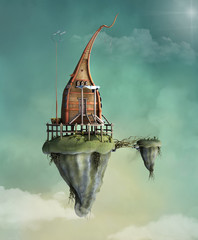 Fantasy flying house in the cloudy sky - 3D illustration