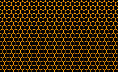 Abstract honeycomb repeated pattern in golden yellow against a back background. Geometric background or seamless pattern inspiration of hexagons, prismatic cells similar to beeswax or beehive frames.