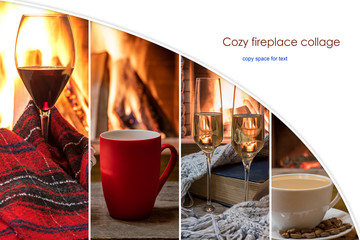 Composite image with cozy fireplace team with copy space.
