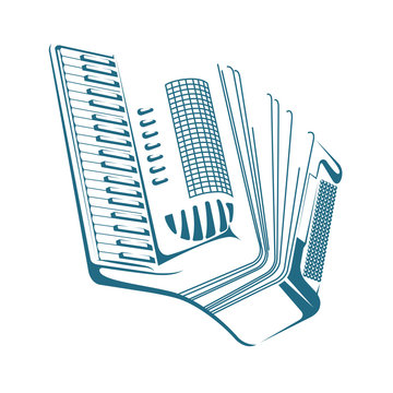 Vector drawn accordion. Isolated on white background.