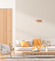 Scandinavian style interior with wooden furnitures. Minimalist interior design. 3D illustration.