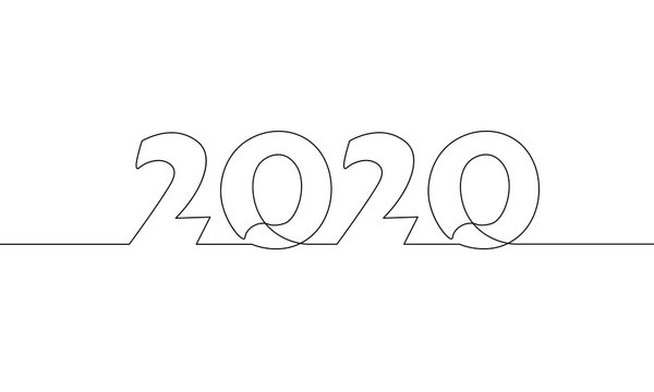 2020 New Year single continuous line art. Holiday greeting card headline decoration. Date numbers concept design. One sketch outline drawing white vector illustration