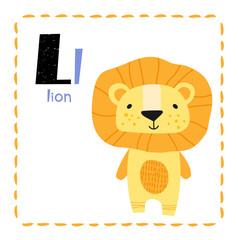 Letter L. Funny Alphabet for young children. Learning English for kids concept with a font in black capital letters in vector