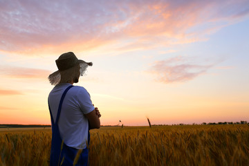 Male farmer in wheat field at sunset Fototapete