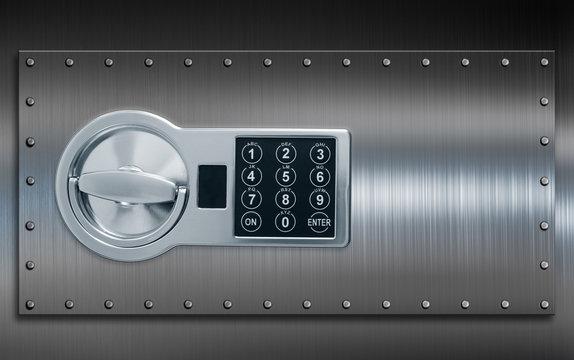 Deposit cell safe box door with code lock 3d illustration