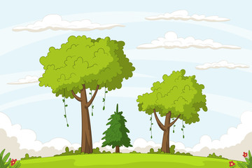 Wall Mural - Landscape cartoon background. Hand drawn vector illustration.
