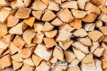 Photo sur Aluminium Texture de bois de chauffage Birch firewood. Firewood harvested for the fireplace