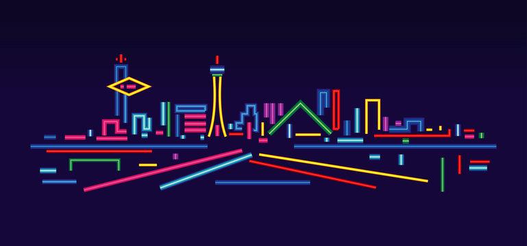 Las Vegas neon signs skyline