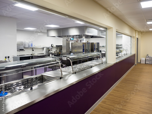 School Canteen Kitchen in Educational setting with servery ...