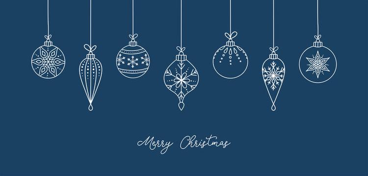 Hand drawn Christmas ball illustration with greetings