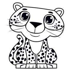 Coloring Book Outlined Happy Cheetah Sitting Position