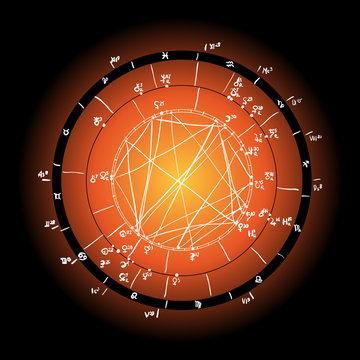 Horoscope natal chart, astrological celestial map, cosmogram, vitasphere, radix. yellow orange white black color. Hand drawn calligraphy. Vector