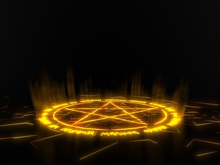 summon circle with pentagram on center. runic words for calling demons. glowing details in dark. 3d illustration