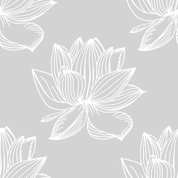 lotus, water lily seamless floral pattern hand drawn sketch