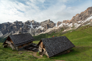 small huts in the mountains of Italy