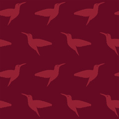 Purple seamless pattern with flying humming birds