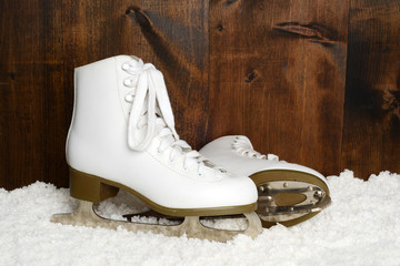 women retro ice skates in snow