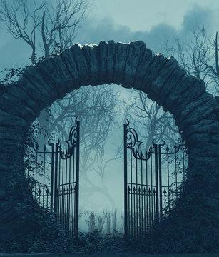 The gates is open,Halloween scene,3d illustration