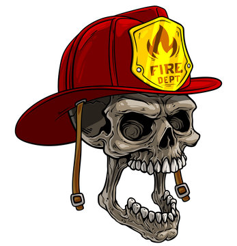 Cartoon detailed realistic colorful scary human skull in red firefighter helmet with golden badge. Isolated on white background. Vector icon.