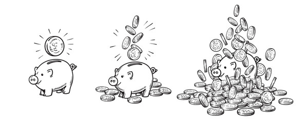 Cartoon piggy bank and gold coins set. Piggy with one coin, with falling cash, heaped over money. Growing wealth and business success concept. Hand drawn sketch style vector illustration .