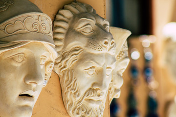 Closeup of traditional decorative objects sold in souvenirs shops in the streets of Athens in Greece