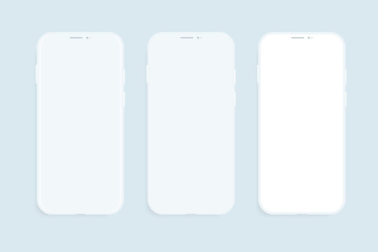 Three smartphones vector mockup. Trendy clay mobile phones template with blank screen for design app.
