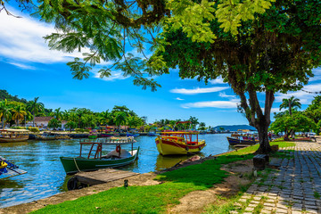 Fotomurales - Historical center of Paraty with boats, Rio de Janeiro, Brazil. Paraty is a preserved Portuguese colonial and Brazilian Imperial municipality