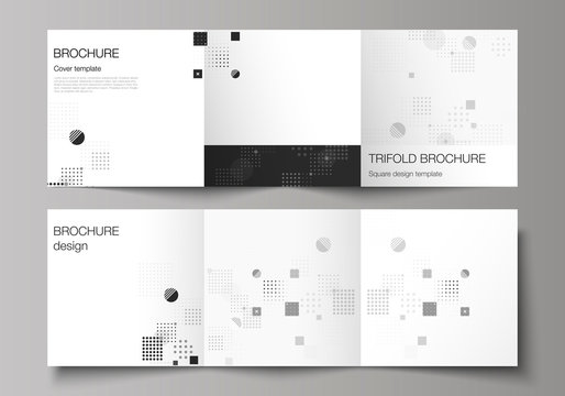 The black colored minimal vector illustration of editable layout. Modern creative covers design templates for trifold square brochure or flyer. Abstract vector background with fluid geometric shapes.