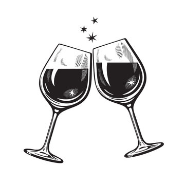 Two sparkling glasses of wine or champagne in vintage engraving style. Cheers icon. Retro vector illustration on white background.
