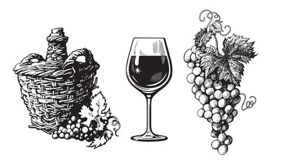 Old demijohn, glass of wine, bunch of grapes in vintage engraving style. Set of wine related hand drawn elements. Vector illustration on white background Fototapete