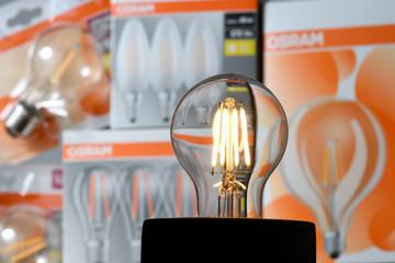 Illustration photo showing a lit bulb by German lighting manufacturer Osram