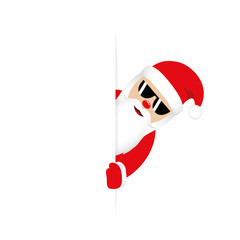 cute santa claus with sunglasses looks around the corner funny christmas design vector illustration EPS10