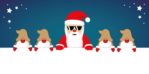 cute happy santa claus with glasses and his gnomes white banner vector illustration EPS10