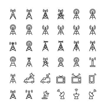 Antenna icons set vector illustration