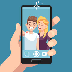 Couple selfie. Young friends make romantic selfie portrait with smartphone, man with woman take photo on camera vector concept