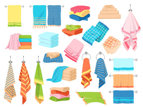 Bath towel. Hand kitchen towels, textile cloth for spa, beach, shower fabric rolls lying in stack. Cartoon vector set