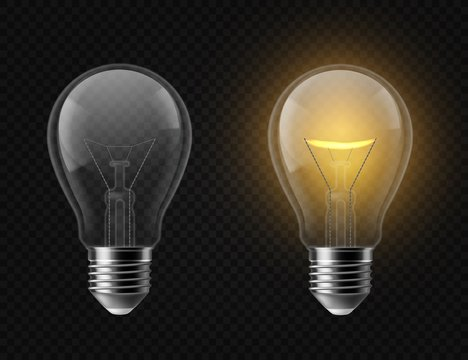 Realistic light bulb. Turned off and glowing isolated lamps. Creative idea and innovation lightbulb vector 3d business concept