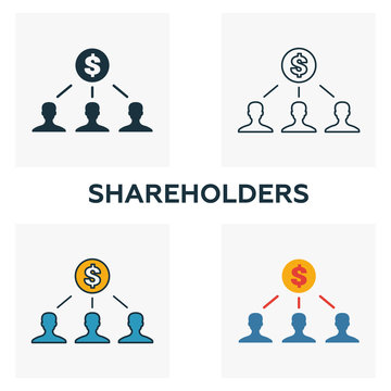 Shareholders outline icon. Thin line element from crowdfunding icons collection. UI and UX. Pixel perfect shareholders icon for web design, apps, software, print usage