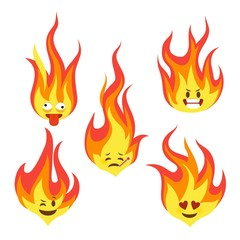 Fire character icons. Hot flame cute emoji with angry and smiles happy characters comic style vector set