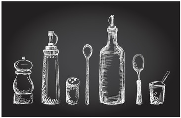 Set of kitchen utensils on a chalkboard, graphic symbols, rough line, hand drawn