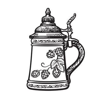 German stein beer mug. Black and white. Hand drawn vector illustration on white backgraund. Brewery, beer festival, bar, pub design.